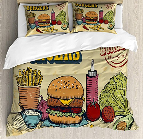 Hamburger Duvet Cover Set, Luxury Soft Hotel Quality 4 Piece King Plush Microfiber Bedding Sets, Retro Hand Drawn Style Burger and Ingredients Gourmet Taste Delicious Fast Food