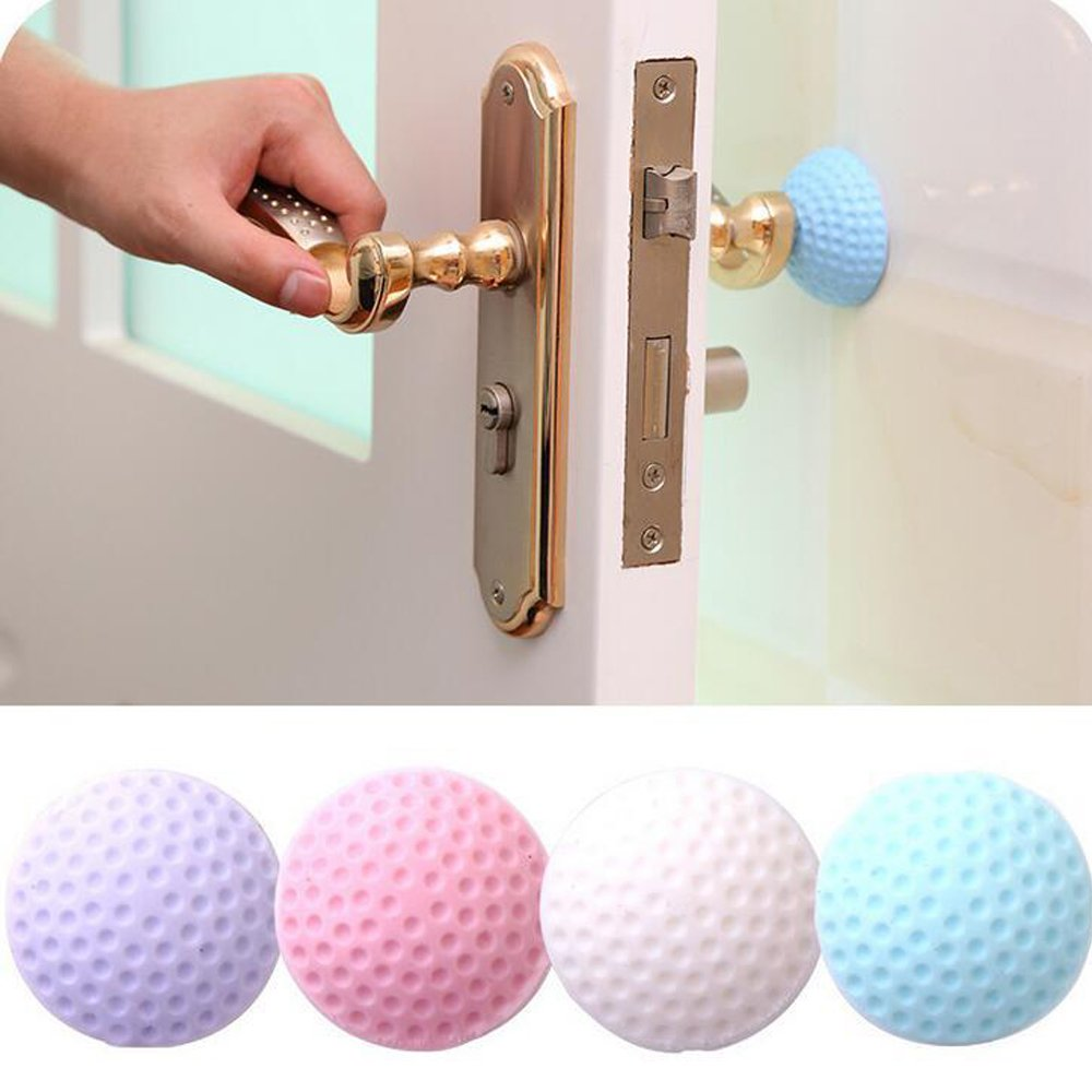 HADTECH 4 PCS Wall Protectors Self Adhesive Door Handle Bumper Guard Stopper Rubber Stop Silencer Baby Care, Home Safety (Light color)