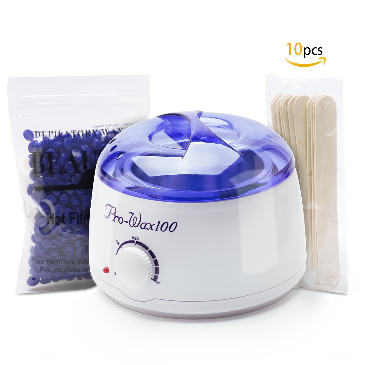 Wax Warmer for Hair Removal, VERKB Hard Wax Heater with Rapid Melting Pot Lavender Beads for Depilatory, 10 Applicator Sticks