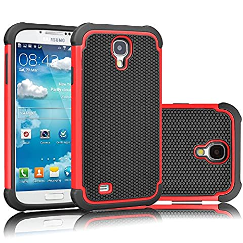 Galaxy S4 Case, Tekcoo(TM) [Tmajor Series] [Red/Black] Shock Absorbing Hybrid Rubber Plastic Impact Defender Rugged Slim Hard Case Cover Shell For Samsung Galaxy S4 S IV I9500 GS4 All (Cell Phone Cases Galaxy S 4 Mini)