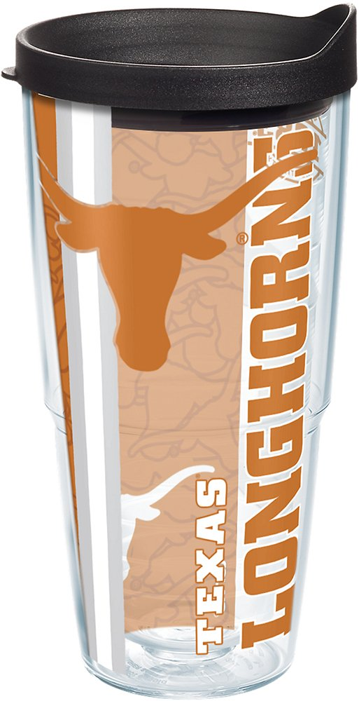 Tervis 1215054 Texas Longhorns College Pride Tumbler with Wrap and Black Lid 24oz, Clear