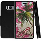 TurtleArmor | Samsung Galaxy S8+ Case | S8 Plus Case | S8 Edge | G955 | Flip Kickstand Leather Flip Wallet Case Cover with Card Slots Ocean Beach Design - Pink Sand Palm Tree