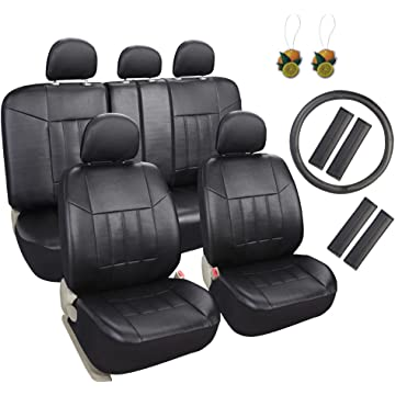 powerful Leader Accessories 17pcs Black Faux Leather Car Seat Covers Full Set Front + Rear with Airbag Universal Fits for Trucks SUV Included FREE Steering Wheel Cover/Seat Belt Covers