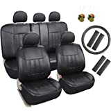 Leader Accessories 17 pcs Universal Fit Interior Decor PU Leather Car Seat Cover Combo Pack Black with Airbag Shoulder Pads FREE Steering Wheel Cover and Air Fresheners