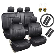 Leader Accessories 17pcs Black Faux Leather Car Seat Covers Full Set Front + Rear with Airbag Universal Fits for Trucks SUV Included FREE Steering Wheel Cover/Seat Belt Covers