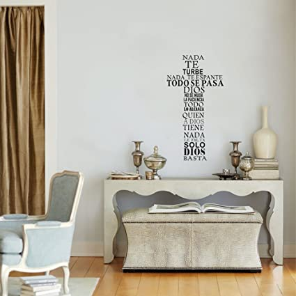 Image Unavailable. Image not available for. Color: freamc Vinyl Wall Sticker Mural Bible Letter Quotes Spanish Quote nada te turbe nada te espante