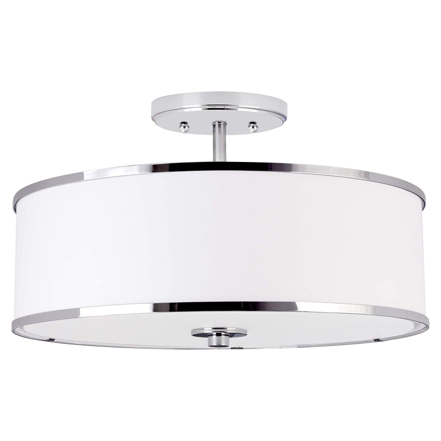 "Kira Home Chloe 15"" Retro Modern 3-Light Semi-Flush Mount Ceiling Light + White Drum Shade, LED Compatible, Round Tempered Glass Diffuser, Chrome Trim Finish"