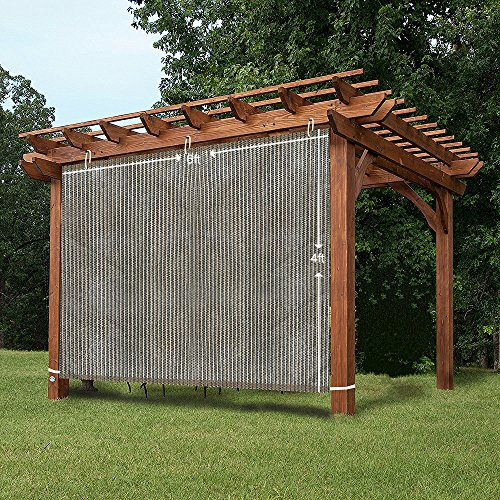 4' Lowering Blocks (EZ2hang Outdoor Shade Cloth New Design Vertical Side Wall Panel for Patio/Pergola/Window 6x4ft Coffee)