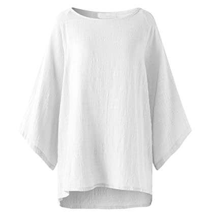 50e851f0604 Image Unavailable. Image not available for. Color  Women Blouse Daoroka  Ladies Cotton Linen Plus Size 3 4 Sleeve Casual Tops Autumn Shirts