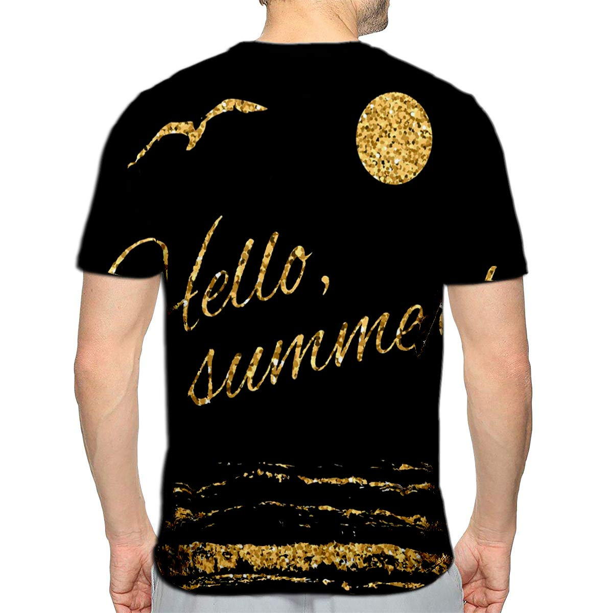 3D Printed T-Shirts Abstract Summer Card with Mirror Reflection of Flamingo Zig