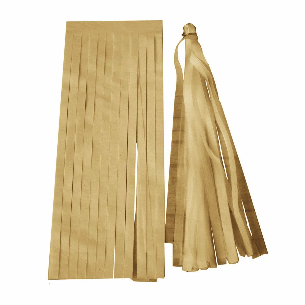 5PCS Assembled Ribbon Tassel Wreath - Handmade Fabric Banner Stripe Hanging - Decoration Wedding Nursery Photo Prop - Bridal Shower Party Decoration (35cm) (Golden)