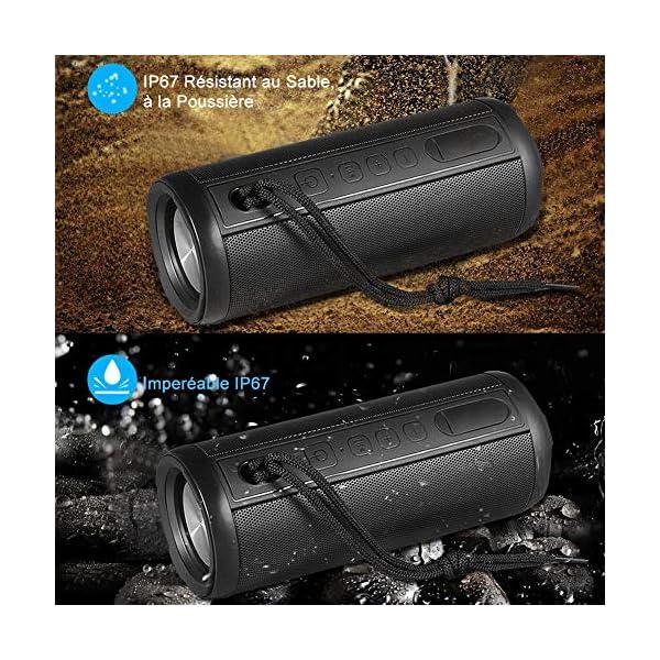 Hieha Enceinte Bluetooth Portable,Waterproof Haut-Parleur Bluetooth 4.2,Enceinte d'éxterieur sans Fil, 360°HD Bass Pilote Double,Mains Libres,Technologie TWS,Étanche IP67 2