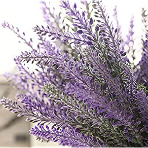 YSBER Artificial Flocked Lavender Bouquet Fake Flowers Bunch Bridal Home DIY Floor Garden Office Wedding Decor-Purple 5