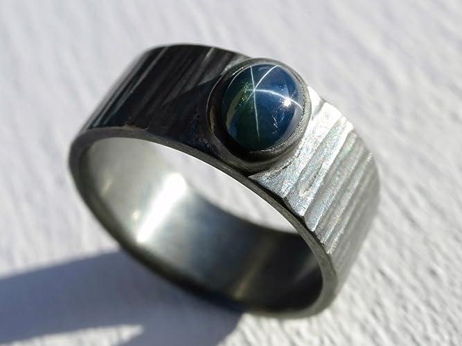 c8d9ed979a465a Amazon.com: blue star sapphire ring, star sapphire ring silver, mens  promise ring, cool mens ring silver hammered, mens sapphire ring, unique mens  ring: ...