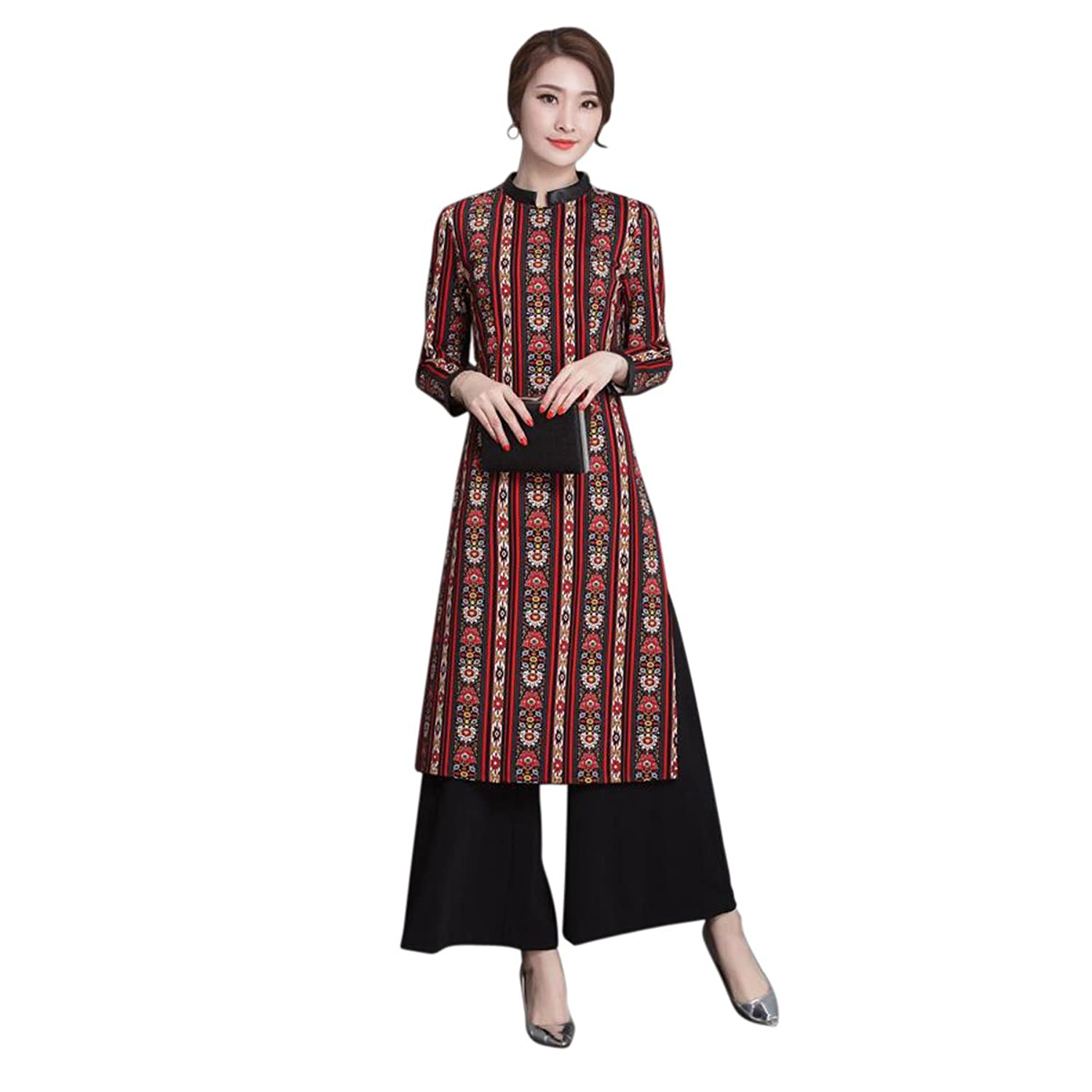 Women's Ethnic Style Retro Dress and Ladies Wide Leg Pants Fashion Two-Piece SuitM-2XL �