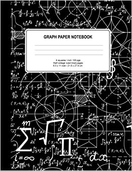 amazon com graph paper notebook math notebook squared graphing