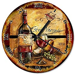 Wood Wine and Grape Wall Clock 30cm(12) Large Wall Art Decorative for Kitchen Living Room Silent Wall Clock Wooden Wall Art Decor Analog Battery Operated Non-Ticking