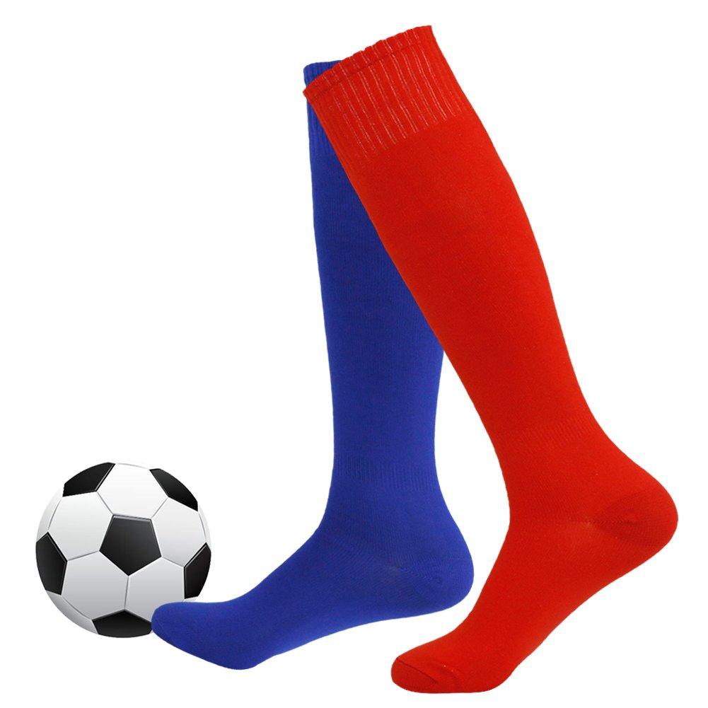 Soccer Socks,Fasoar Unisex Team Sports Football Long Tube Socks Pack of 2,6,10 Mens Womens Team Sports Long Tube Softball Socks 6 Pairs Red FAS231106