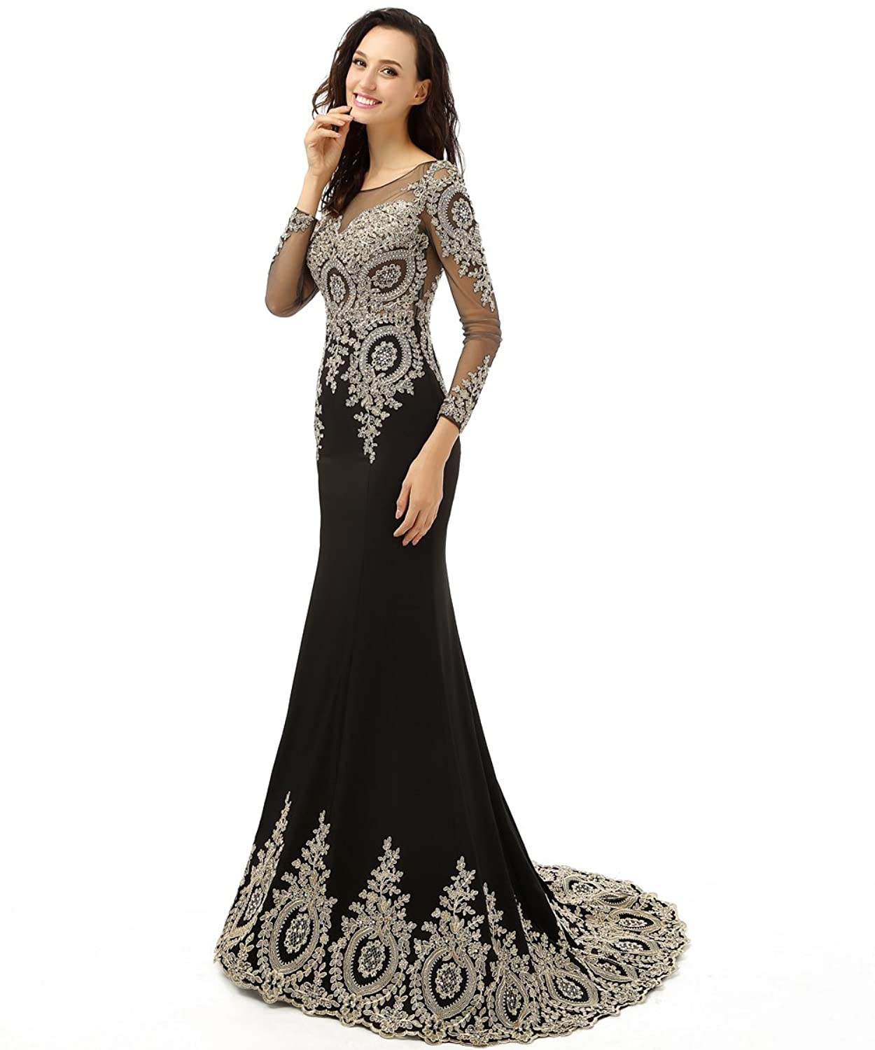 Babyonline trumpet long evening dress lace beads cap sleeve party prom gowns