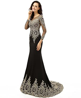 Amazon.com: King\'s Love Women\'s Rhinestone Long Sleeve Mermaid ...