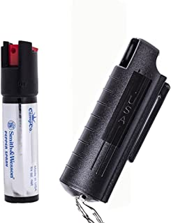product image for Smith & Wesson Pepper Shield Quick Release Large Pepper Spray Keychain with Hard Case.75-Ounce, Black Finish