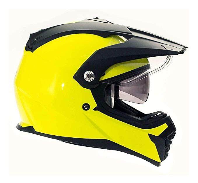 Bilt Explorer Drop Down Sun Shield Visor Vented DOT Dual Sport Adventure Touring Motorcycle Full Face Helmet - Day Glo Yellow XL