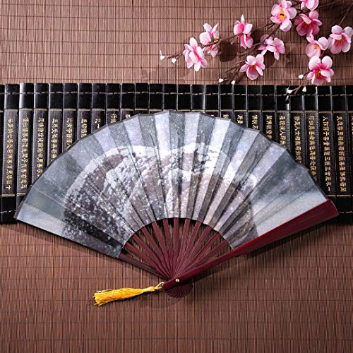 (JGYJF Folding Fans Handheld for Kids Brown Bear Walking in The Snow with Bamboo Frame Tassel Pendant and Cloth Bag Japanese Fan Decoration Foldable Japanese Fan Funny Hand Fans)