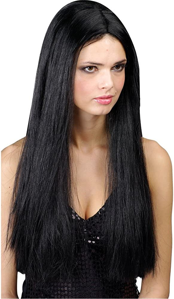 Halloween LADIES  BLACK  WIG FANCY DRESS ACCESSORY 1st Class Post