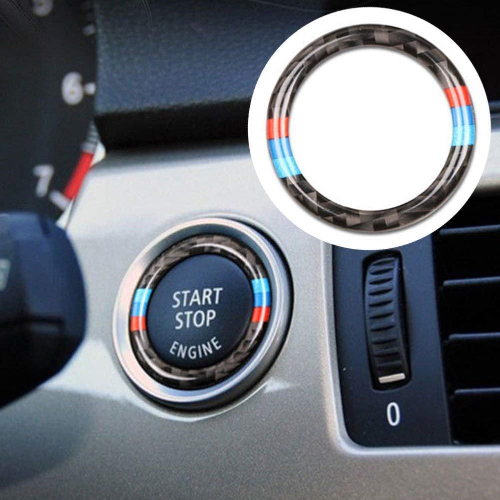 AzuNaisi Coche del Comienzo del bot/ón del Anillo de Fibra de Carbono del Anillo de la Raya del Ajuste de Encendido Tapa de bot/ón para BMW E90 E92 E93 2005-2012