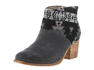 TOMS Women's Leila Bootie Forged Iron Grey Suede/Tribal Wool Boot 7 B (M)