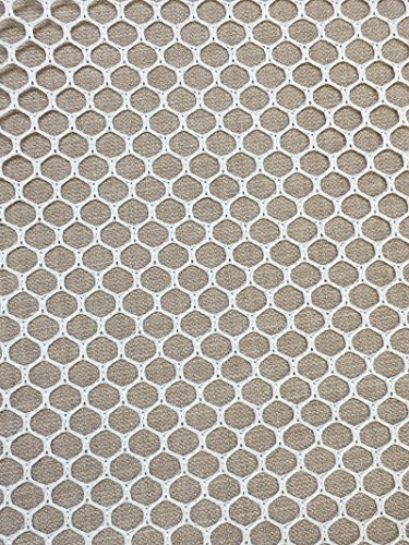 Nylon Mesh Material - 7MM Polyester Hex Mesh Fabric White 50