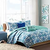 Intelligent Design Lionna Full/Queen Size Quilt Bedding Set - Blue, Bohemian Chic Pattern – 5 Piece Bedding Quilt Coverlets – Peach Skin Fabric Bed Quilts Quilted Coverlet