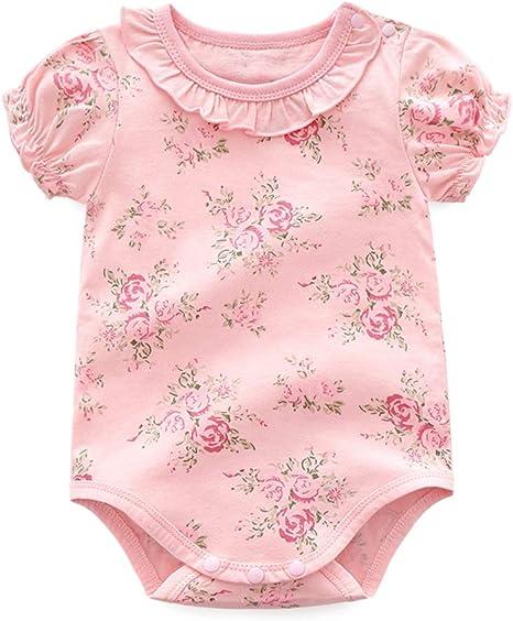 Manga de los bebés mono de algodón Bodies bebé Romper Corto Mono lindo del estampado de flores de la colmena de la solapa del bebé traje de color rosa 80cm: Amazon.es: Bebé