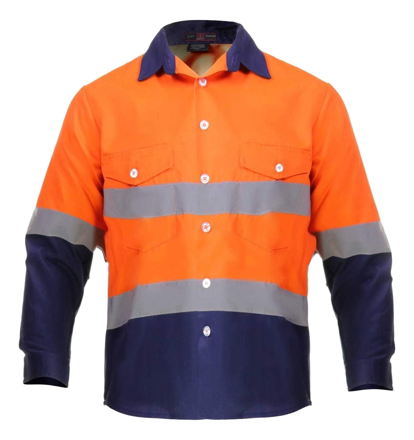 Just In Trend High Visibility Hi Vis Reflective Safety Work Shirts (4X-Large, Orange/Navy Blue)