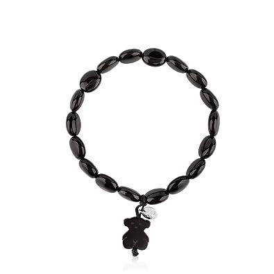 588a066d85a2 TOUS Pulsera ajustable de mujer en Plata de primer Ley negra y colgante Onix   Amazon.es  Joyería