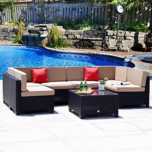 Cloud Mountain No Tax 7 PC Outdoor Patio Rattan Wicker Sectional Sofa Summer Backyard Furniture Set Outdoor Patio Garden Sofa Set, Black Rattan Khaki Cushions -