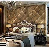 Blooming Wall 3d Faux Leather Backgound Texture Wall Pattern Wallpaper Roll for Livingroom Bedroom, 20.8 In32.8 Ft=57 Sq.ft (Gold) by Blooming Wall