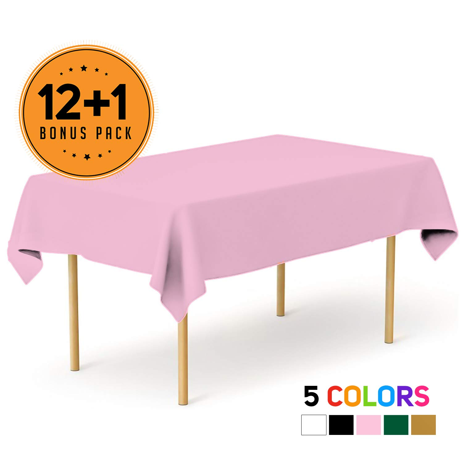 Pink 13 Pack Premium Disposable Plastic Tablecloth 54 x 108 Inch - Waterproof Disposable Tablecloths for Rectangle Tables up to 8 ft in Length - Indoor or Outdoor Use - Party Plastic Table Cover