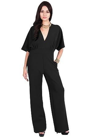 93c61ecb3cb Amazon.com  Viris Zamara Womens Long Sexy V-Neck Short Sleeve Slimming  Pockets Work Jumpsuit  Clothing