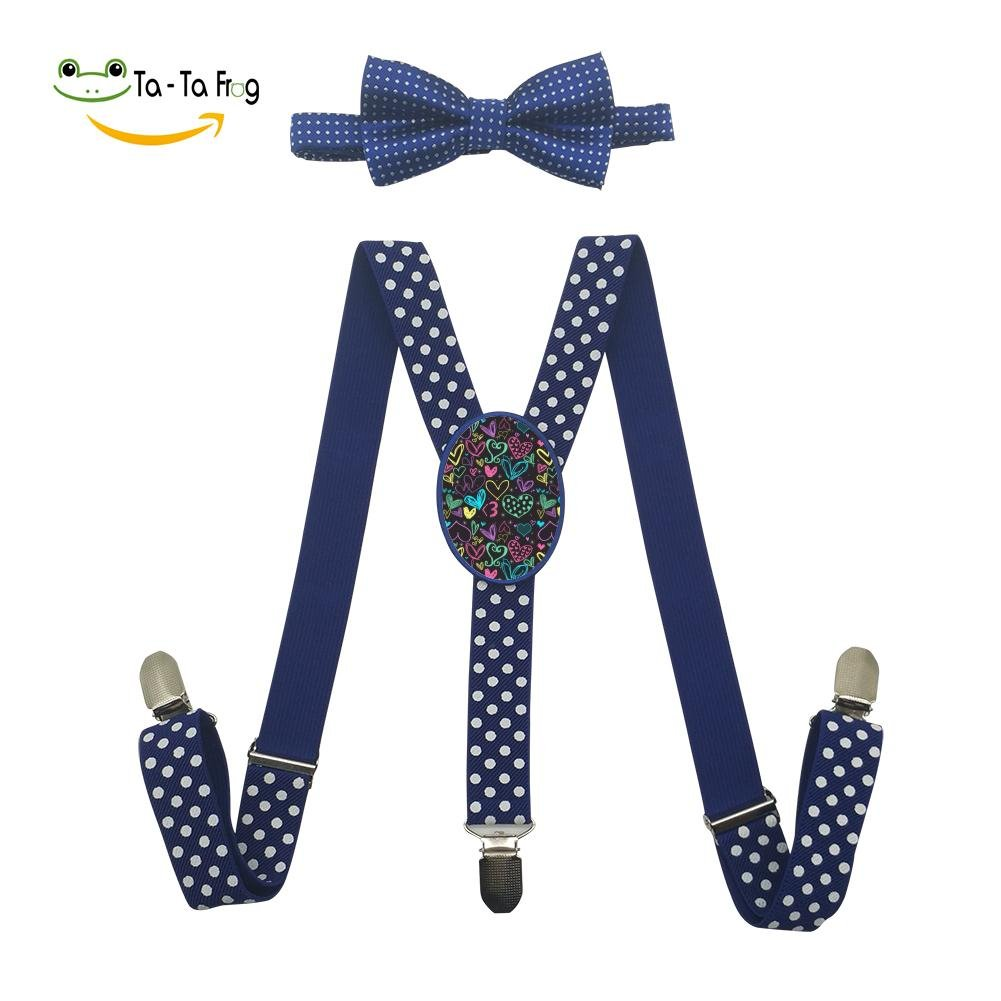 lOVE Heart Unisex Suspenders And Pre-Tied Bowtie Set For Boys And Girls Casual And Formal Blue