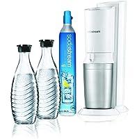 SodaStream Crystal 2.0 Wassersprudler weiß mit 1 x Co² Zylinder 425g. und 2 x Glaskaraffen 0,6 l