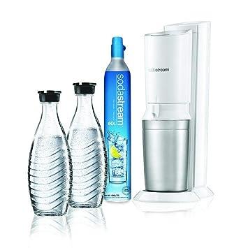 Sodastream Crystal 2 0 Wassersprudler Weiss Mit 1 X Co Zylinder 425g Und 2 X Glaskaraffen 0 6 L