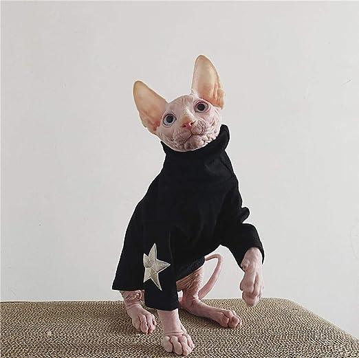 ZHIHAN Ropa para Gatos Sphinx Camisa con Fondo elástico Gato sin Pelo Ropa de Primavera y Verano, Negro, M: Amazon.es: Productos para mascotas