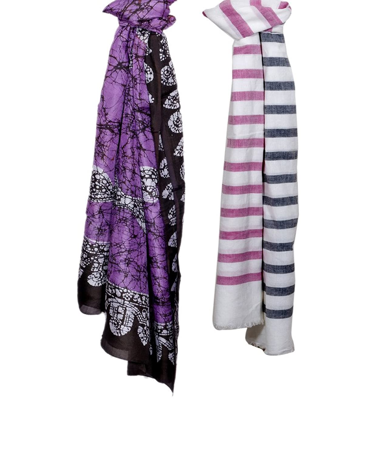 Indistar Women Soft Luxurious Stole for All Seasons (Combo Pack of 2)