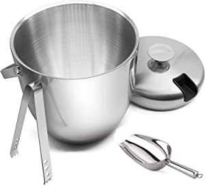Ice Bucket - Double Walled SUS304 Stainless steel Ice Bucket with Tongs & Seal Lid (3L) Keep Ice Frozen Longer and Food Fresh, Chiller Bin Basket for Parties, BBQ & Buffet - Bonus Ice Scoop