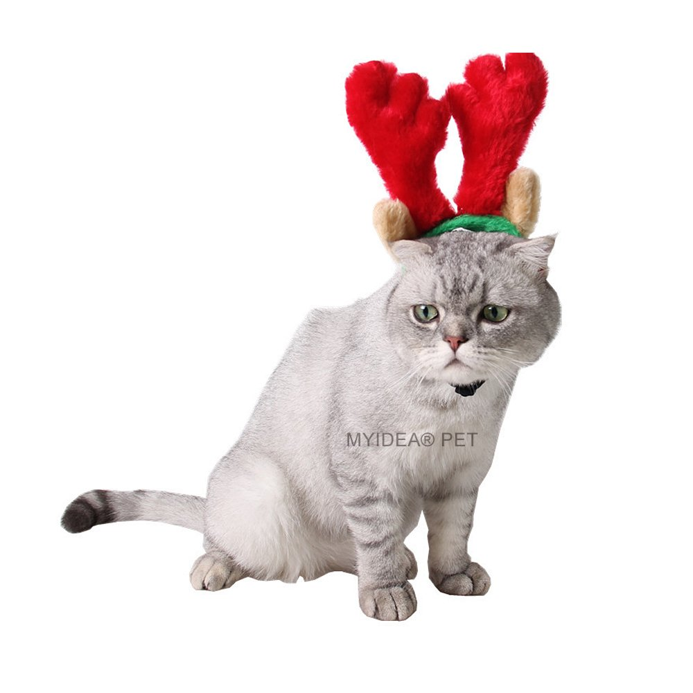Red Antlers L Red Antlers L MYIDEA Cat Hat Pet Headdress Kitten Puppy Pet-Costumes (L, Red Antlers)