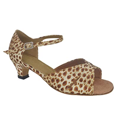 16e850db2 Misu Women's Peep Toe Sandals Latin Salsa Animal Printgo Practice Ballroom  Dance Shoes with 1.5""