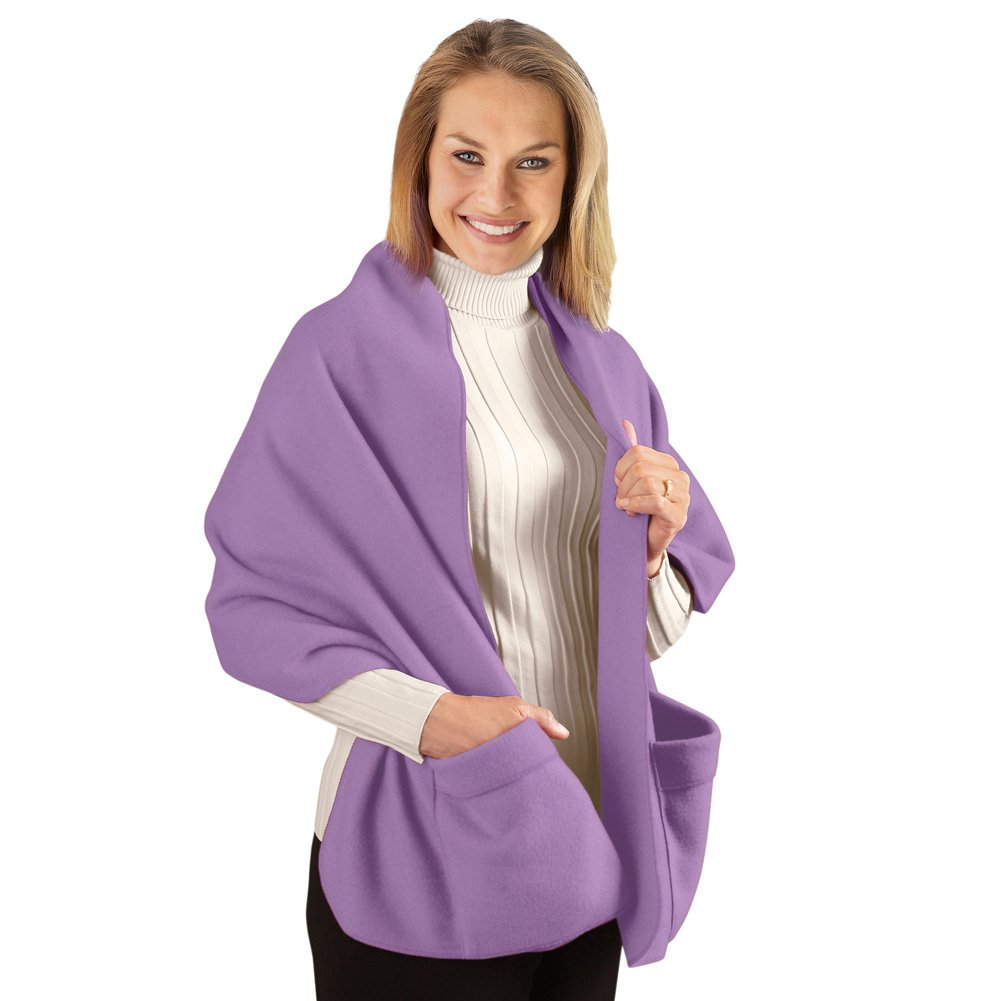 Collections Fleece Wrap Shawl With Pockets, 66