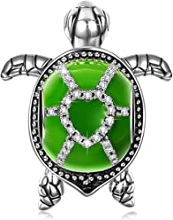 NINAQUEEN Green Turtle Women Bead Charm 925 Sterling Silver for Animal Lover Fit for Charm Bracelet and Necklace, Christmas Gifts, Come with a Gift Packaging, Nickel-free, Passed SGS