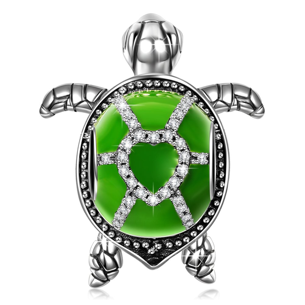 NinaQueen Tortoise 925 Sterling Silver Green Enamel Happy Family Animal Bead Charms for Pandöra Bracelets Necklaces Jewelry Birthday Anniversary Gifts for Women Wife Girlfriend Niece Teen Girls Kid